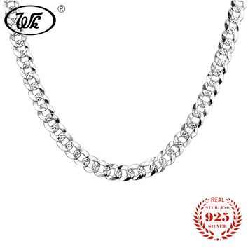 WK Flat 7MM Mens Boys Link Chain Necklace Silver 925 Sterling Vintage Punk Men Necklaces 50cm 55cm Hiphop Jewelry Gift W6 NM005
