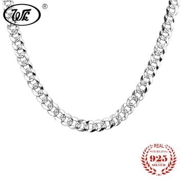 WK Flat 7MM Mens Boys Link Chain Necklace Silver 925 Sterling Vintage Punk Men Necklaces 50cm 55cm Hiphop Jewelry Gift W4 NM005