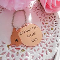 Copper French Bulldog Mom Hand Stamped Keychain Made to order