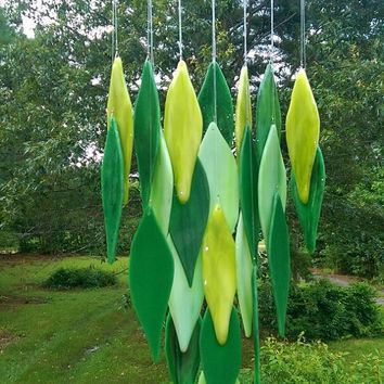 "Illume Glass Studio Handcrafted Art Glass ""Spring"" Windchime in Greens with Texas Driftwood"