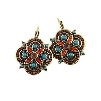 Summer Style Vintage Crystal Multicolor Beads Clover Statement Drop Earrings For Women 2016 New Trend Jewelry