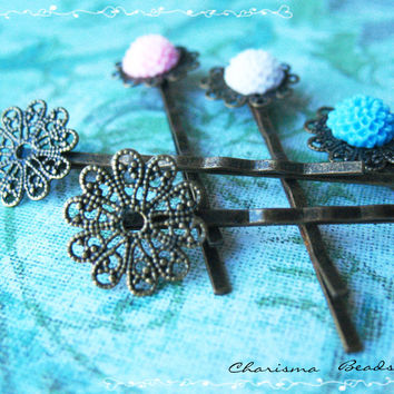 12 Filigree Bobby Pins Hair Ornaments Antique Bronze, Round, 16x54mm, Hole: 1mm