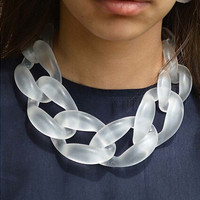Unique designed big resini chain necklace colar linked choker
