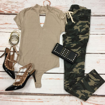 All I Ever Needed Bodysuit: Khaki