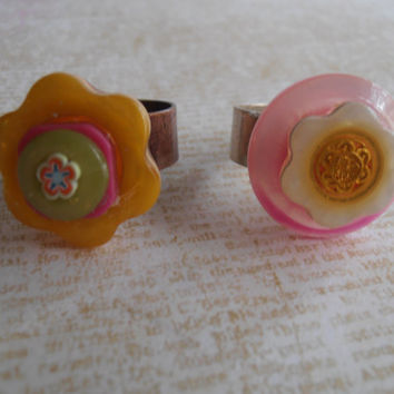 Adjustable Button Rings Pink and Yellow Flower Detail Cute Birthday Gift for Her
