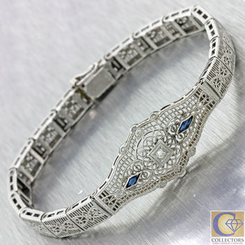 1930s Antique Art Deco Estate 14k White Gold Diamond Sapphire Filigree Bracelet