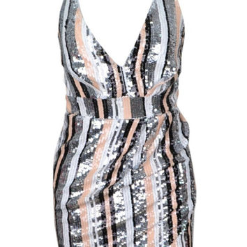 Isabella - Abstract Stripe Bodycon Dress