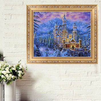 For 11.11 Winter Castle DIY 5D Diamond Embroidery Cross Stitch Mosaic Kit Wall Home Decor
