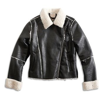 Lucky Brand Vegan Leather Moto Jacket Girls - Black