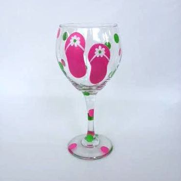 Flip flop polka dot hand painted wine glass