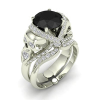 Black Diamond Skull Engagement Ring 10 k