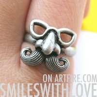 SALE - Adjustable Moustache Funny Guy Ring in Silver