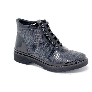 Grey / Black Lace Up Booties