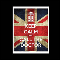 Doctor Who Print, Keep Calm and Call the Doctor Union Jack Wall Art 8x10 HomeDecor
