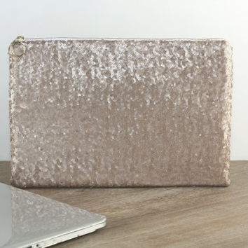 "Leather MacBook Pro / Air / Retina 13"" Case - Champagne Sequins and Metallic Dark Gold Leather - Sparkly Clutch Bag - Padded Computer Case"