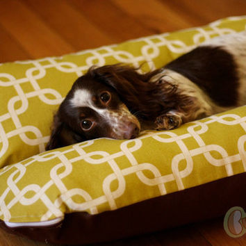 Deluxe Bunbed Dog bed for Dachshunds and other small dogs - Modern Green squares
