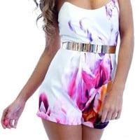 Floral Print Strapless Zippered Romper