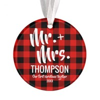 Red Buffalo Plaid Mr. and Mrs. First Christmas Ornament