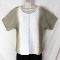 J Jill Sweater S size White Taupe Brown Short Sleeve Cotton Knit Womens Casual