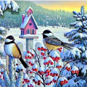 5D Diamond Painting Pink Birdhouse in the Snow Kit