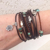 BOHO Brown Leather  WRAP BRACELET with your Choice of Charm, Triple Wrap Bracelet, Kabbalah Wrap, Multimedia Wrap, Endless Wrap Bracelet