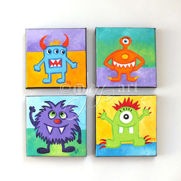 Art for Kids Rooms, 4 LITTLE MONSTERS, Four 5x5 acrylic canvases, Kids Room Decor, Playroom Art, Nursery Art