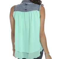 Denim Trim Chiffon Shirt | Shop Tops at Wet Seal