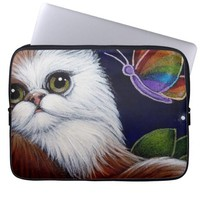 gorgeous white brown cat butterfly computer sleeve