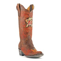 Gameday U Of Maryland Ladies Leather Boots - Brass