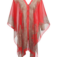 Red V-neck Folk Pattern Cover Up