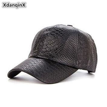 Trendy Winter Jacket XdanqinX Men's Hats Classic Crocodile Pattern PU Baseball Caps Spring Autumn Adjust Size Visor Cap Snapback Male Bone Dad's hat AT_92_12