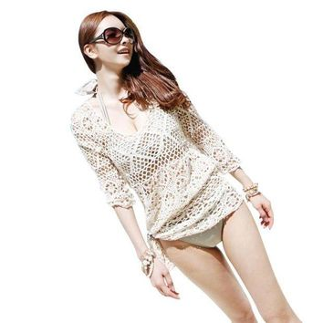 ICIKUH3 Beach Tunic Sexy Swimwear Cover Up For Women Beach Cover Ups Crochet Pareo Bathing Suit Cover Ups Summer Female Hollow Swimsuit