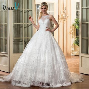 Dressv ivory lace wedding dress scoop neck appliques sleeveless sexy backless ball gown wedding dress 2017 long lace bridal gown