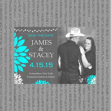 Printable Wedding Save The Date with Picture, Turquoise, White, Gray.  Printable Pom Pom Flower Invitation White, Tiffany Blue, Gray.