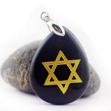 Natural Crystal Drop Star of David Pendant Necklace