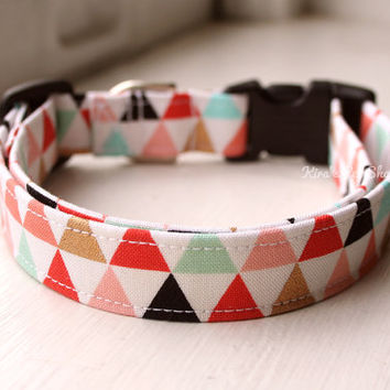 Triangle Dog Collar, Handmade Camo Dog Collar, Dog Accessories, Pet Accessories, Adjustable Fabric Designer Dog Collar with Plastic Buckle