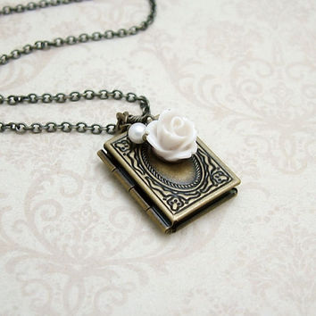 Old Rose Book Locket Necklace in Antiqued Brass- Can be opened