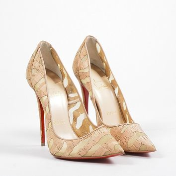 KUYOU Christian Louboutin Tan Cork  So Kate 120  Pointed Toe Pumps