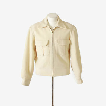 Vintage 50s RICKY JACKET / Men's 1950s Zip Up Ivory Wool Cropped Coat S