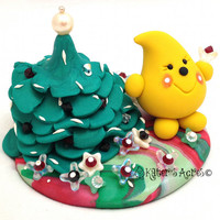 Christmas Tree & Flowers Parker StoryBook Scene - Twelve Days of Christmas Polymer Clay Figurine