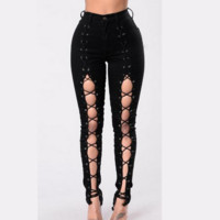 New fashion show thin lace up type cowboy pants