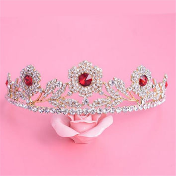 Vintage European Gold Plated Bridal Crowns Princess Red Crystal Tiara Rhinestone Headband For Wedding Accessories 1PC
