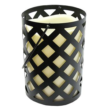 "7"" Black Metal Criss Cross Lantern with Bisque LED Lighted Flameless Indoor/Outdoor Pillar Candle"