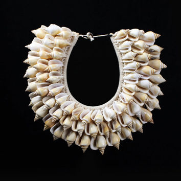 Seashell Necklace Papua Traditional Cream Curled Conch Shell Adornment Polished Lustrous Shells Accent Home Display Handmade Nature Jewelry