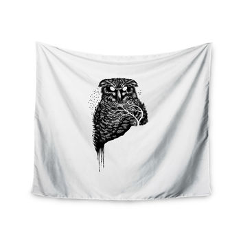 "BarmalisiRTB ""Autumn Owl"" Black White Wall Tapestry"