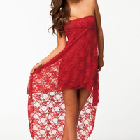 Red Strapless Lace Evening Tail Dress