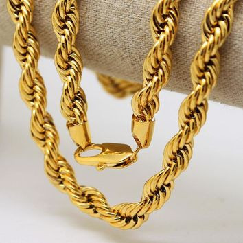 Gold Long Cuba Twisted Rope Chain Necklace