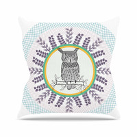 "Famenxt ""Owl"" White Purple Outdoor Throw Pillow"