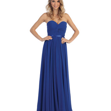 Royal Blue Strapless Chiffon Sweetheart Corset Gown 2015 Homecoming Dresses