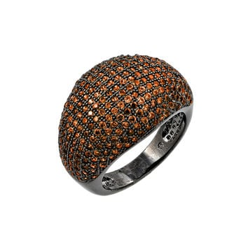 .925 Sterling Silver Oxidized Rhodium Plated Orange Micro Pave Set Cubic Zirconia Dome Ring: Size:5